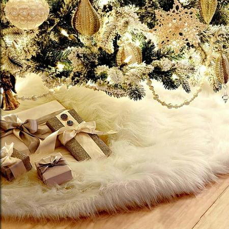 """35.4"""" Christmas Tree Skirt Long Plush White Snowflake Christmas Tree Skirt Base Floor Mat Cover Decor"""