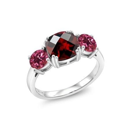 3.40 Ct Cushion Checkerboard Red Garnet Pink Tourmaline 925 Sterling Silver Ring