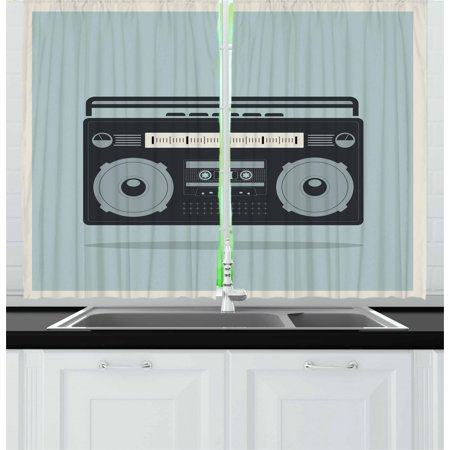 Hip Hop Curtains 2 Panels Set, Classic 1980s Boombox Image on Doodle Retro Background Nostalgic Urban Ghetto Theme, Window Drapes for Living Room Bedroom, 55W X 39L Inches, Multicolor, by Ambesonne](1980s Theme)