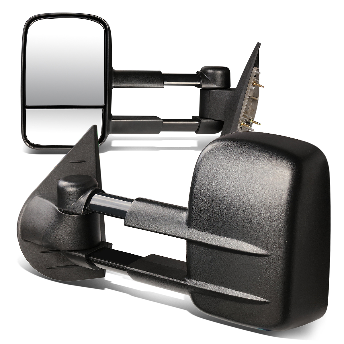 For 07-13 Silverado / Sierra HD Pair of Black Textured Telescoping Manual Extenable Side Towing Mirrors 08 09 10 11 12