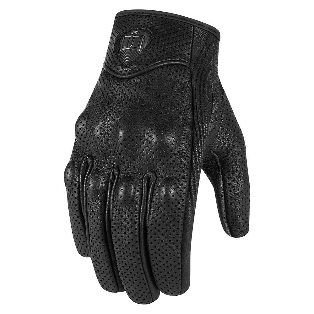 Mens Perforated Pursuit Street Stealth Leather Motorcycle Gloves Black  XL 02