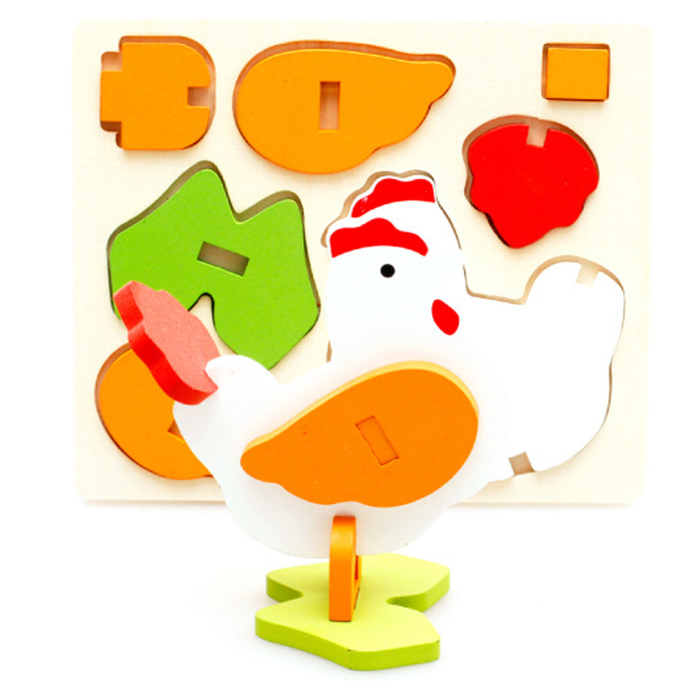 Iuhan Montessori Mini 3D Puzzle Kids Educational Funny Toy Wooden Colorful Jigsaw Gift by