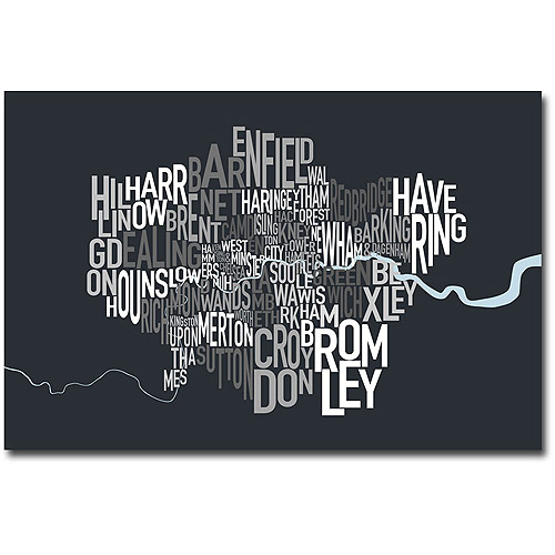 "Trademark Art ""London Borough Text Map"" Canvas Wall Art by Michael Tompsett"