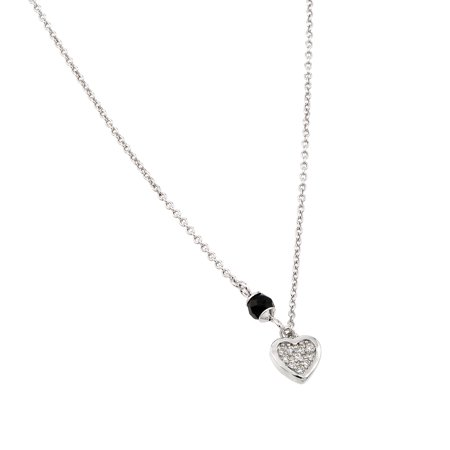 .925 Sterling Silver Rhodium Plated Heart Black Enamel Pendant