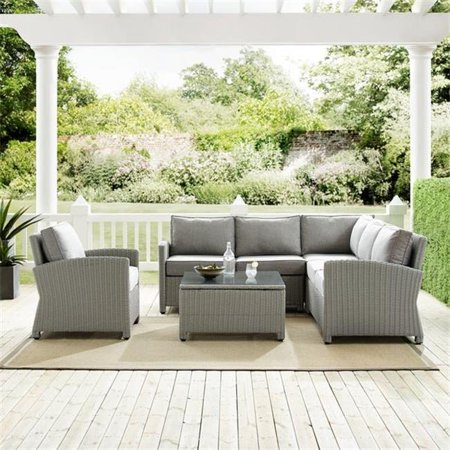 Image of Crosley Bradenton 5Pc Outdoor Wicker Sectional Set- Right Side Loveseat, Left Side Loveseat, Corner Chair, Arm Chair, Sectional Glass Top Coffee Table