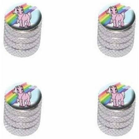 Pink Unicorn on Cloud Rainbow Pony Tire Rim Wheel Aluminum Valve Stem Caps, Multiple