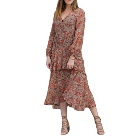 LoveShackFancy Women's Floral Print Alexandra Dress Medium Rust