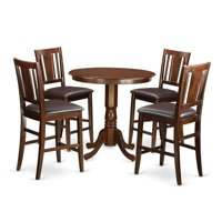 East West Furniture JABU5-MAH-LC Dining Counter Height Pub Table & 4 Chairs, Jackson