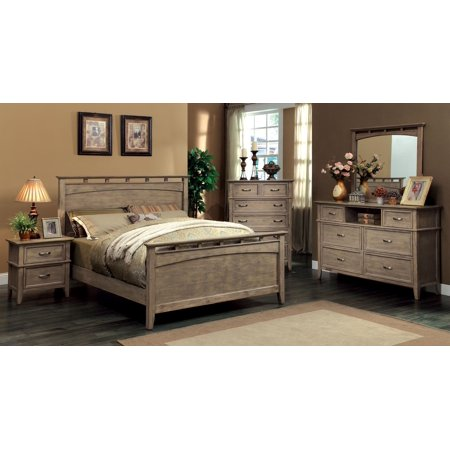 Bedroom Oak Footboard (Simple New Weathered Oak Finish 4pc Bedroom Furniture High Footboard Framed HB California King Size Bed Dresser Mirror Nightstand Classic Look)