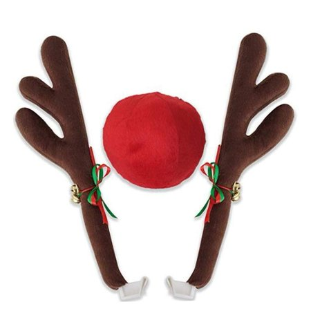 Magik Christmas Car Decoration Plush Rudolf Reindeer Car Antler with Red Nose Jingle - Red Nose Reindeer Plush