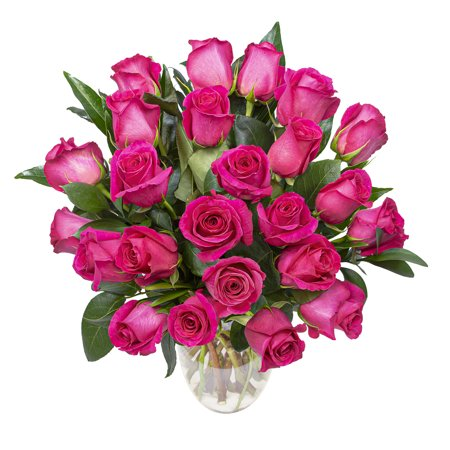 Hot Pink Roses with Premium Greens, Two Dozen, Vase Included
