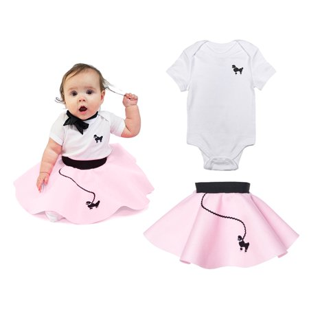 Kids 50s Outfit (Infant 2 pc - 50's Poodle Skirt Outfit - 12 Month / Light)