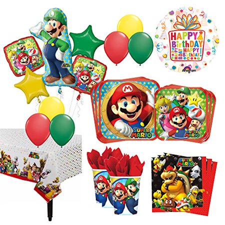 The Ultimate 8 Guest 54pc Super Mario Brothers and Luigi Birthday Party Suppl... - Mario Birthday Party
