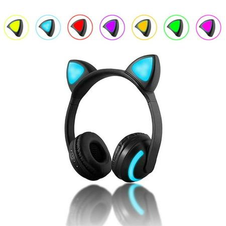 JINSERTA Bluetooth Stereo Cat Ear Headphones Flashing Glowing cat ear headphones Gaming Headset Earphone 7 Colors LED light (Light Up Cat Ears)