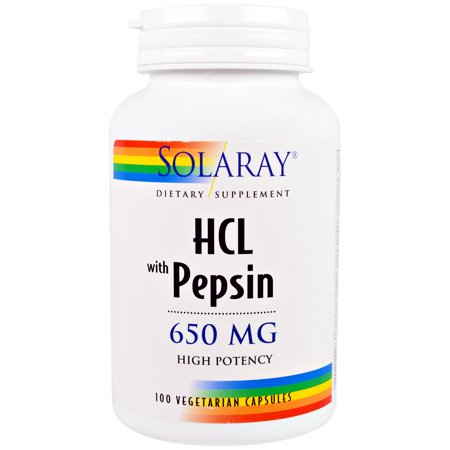 Solaray  HCL with Pepsin  650 mg  100 Vegetarian Capsules ()