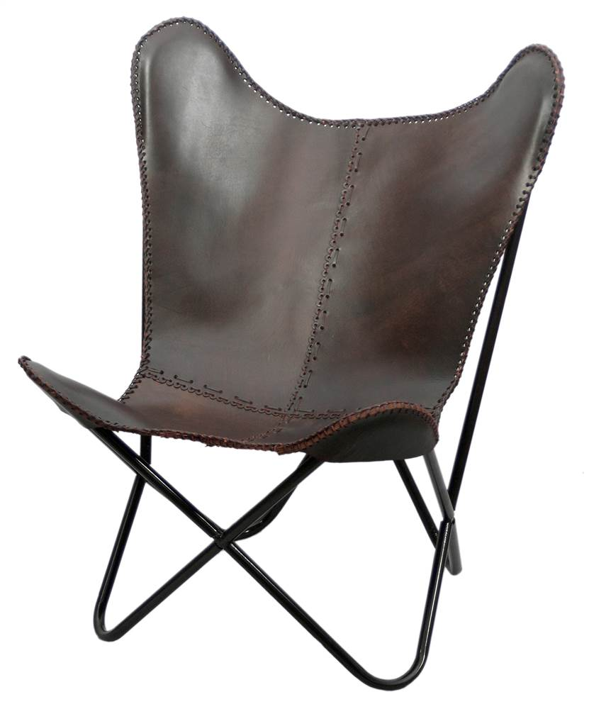 Leather Butterfly Chair In Brown