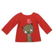 Sprockets Little Girls Red Leopard Bird Print Long Sleeved Shirt 4-6X