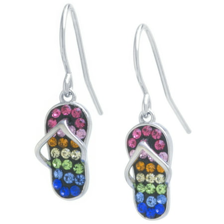 Sterling Silver Multi Color Crystal Flip Flop Wire Drop Earrings