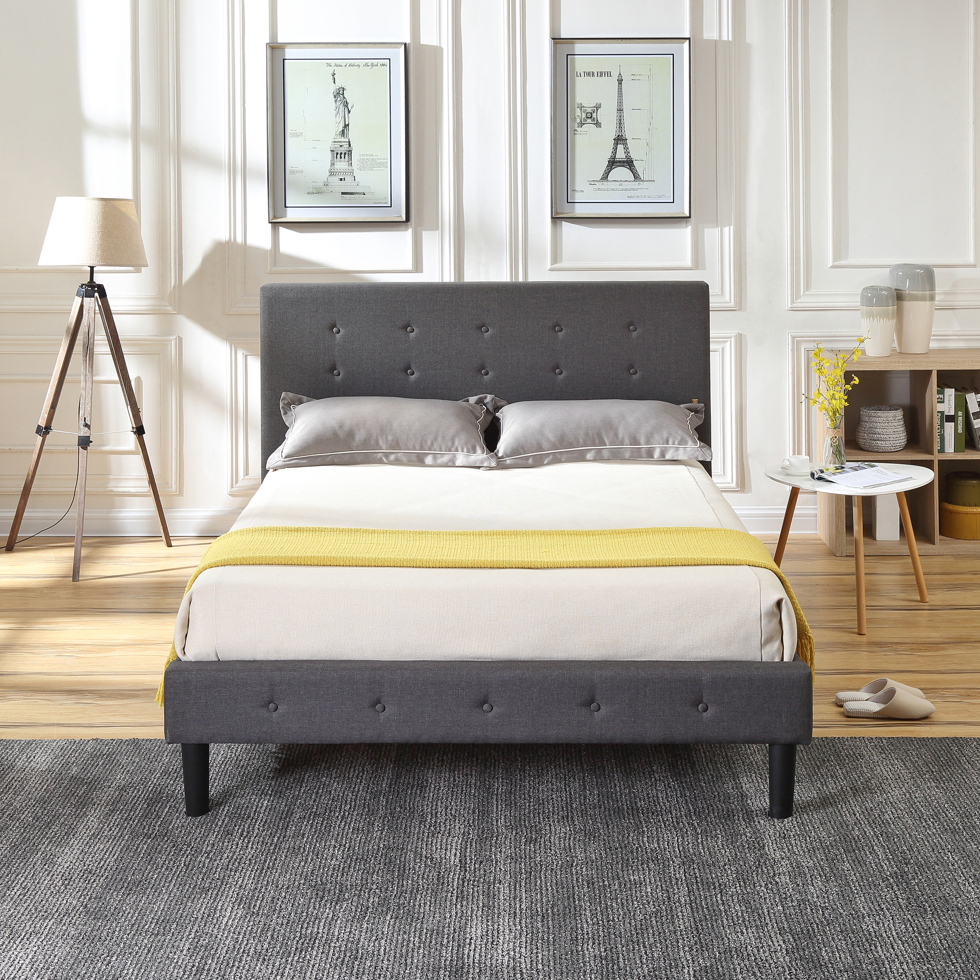 Modern Sleep Cambridge Upholstered Platform Bed | Headboard and Metal Frame with Wood Slat Support | Grey, Multiple Sizes