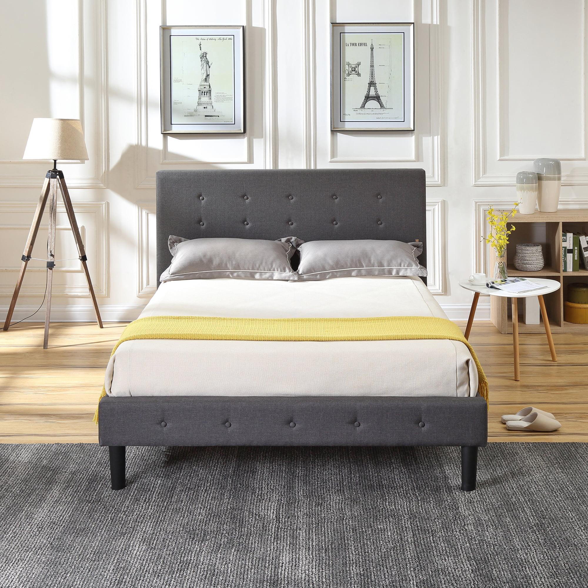 Modern Sleep Cambridge Upholstered Platform Bed   Headboard and Metal Frame with Wood Slat Support   Grey, Multiple Sizes