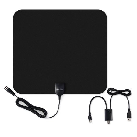 Pictek Amplified HDTV Antenna-50 Miles Range, Ultra-thin Indoor Digital HDTV Antenna with Detachable Amplifier Signal Booster, Optimized Butterfly-Shaped Picture, 10ft Long Cable for Better