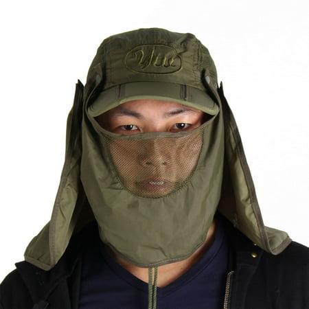Unique Bargains Men Women Detachable Hiking Fishing Cap Sun Hat with Hood -