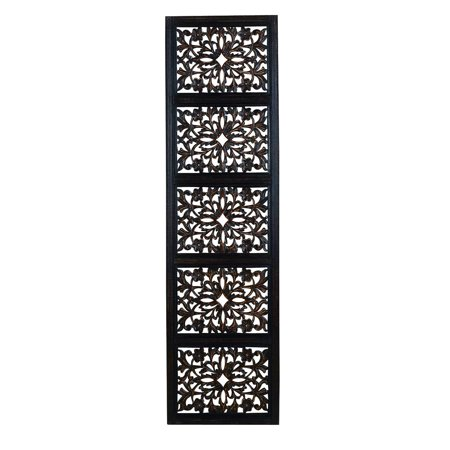 32661 Ebony Black Hand Carved Wood Wall Decor Sculpture