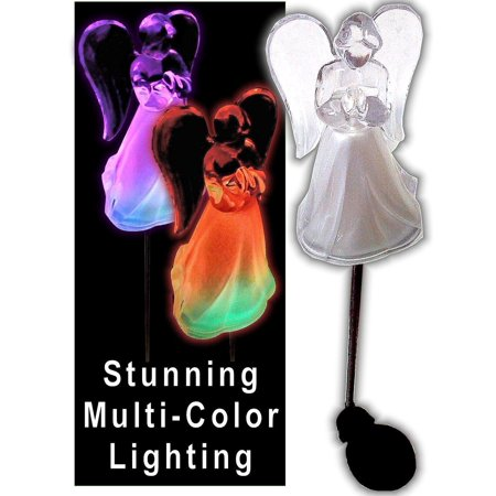 Color Changing Solar Powered Angel Lights Garden Stakes Yard Decor Set of 2 ()