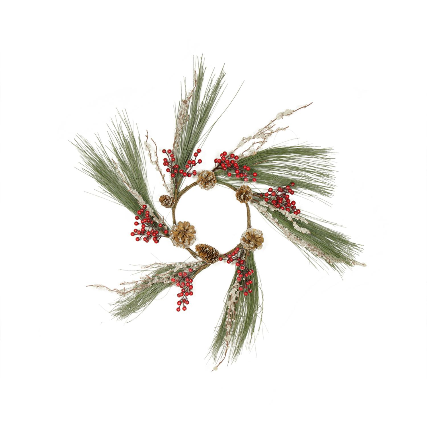 "Melrose 20"" Unlit Red Berry and Frosted Pine Cone Artificial Christmas Wreath"