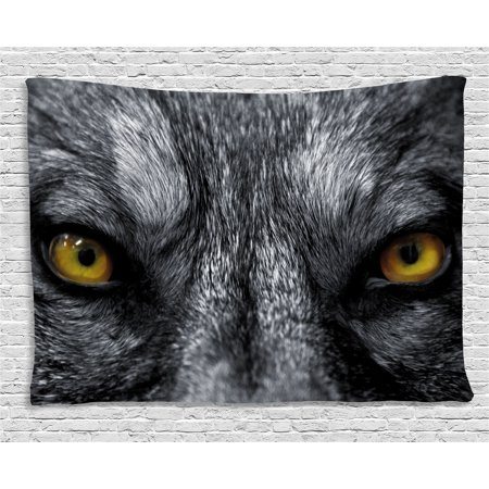 Eye Tapestry, Dangerous Mammal Eyes of Wild Wolf Aggressive Predator Carnivore Image Print, Wall Hanging for Bedroom Living Room Dorm Decor, 60W X 40L Inches, Black White Yellow, by Ambesonne