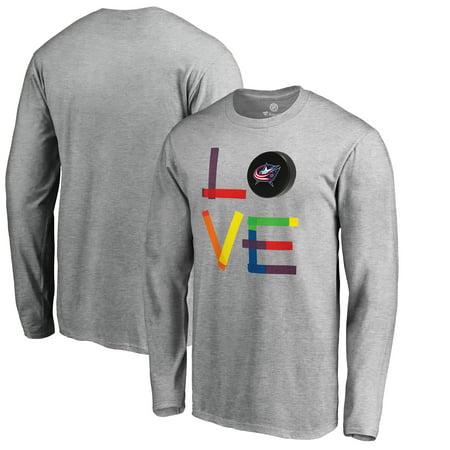 Columbus Blue Jackets Fanatics Branded Hockey Is For Everyone Love Square Long Sleeve T-Shirt - Heather Gray Blue Jackets Hockey