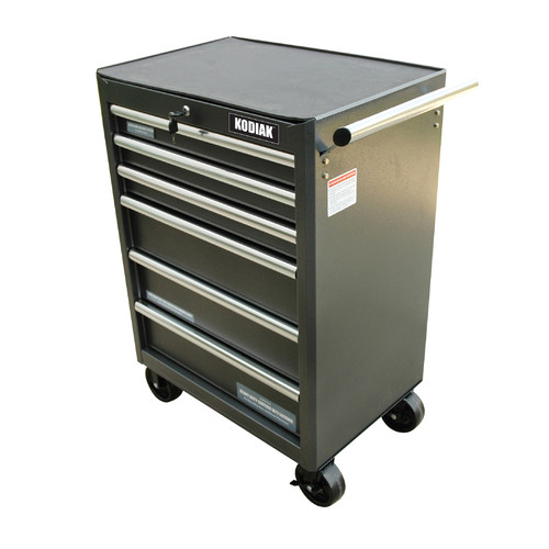 "WEN 26"" 6-Drawer Rolling Tool Cabinet, Silver/Black"