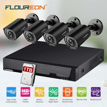 FLOUREON 8CH DVR Security Camera System with 1TB Hard Drive, 5 IN 1 1080N Video DVR Recorder 4X HD 3000TVL 1080P Invisible IR Night Vision Indoor Outdoor Weatherproof CCTV Cameras Motion