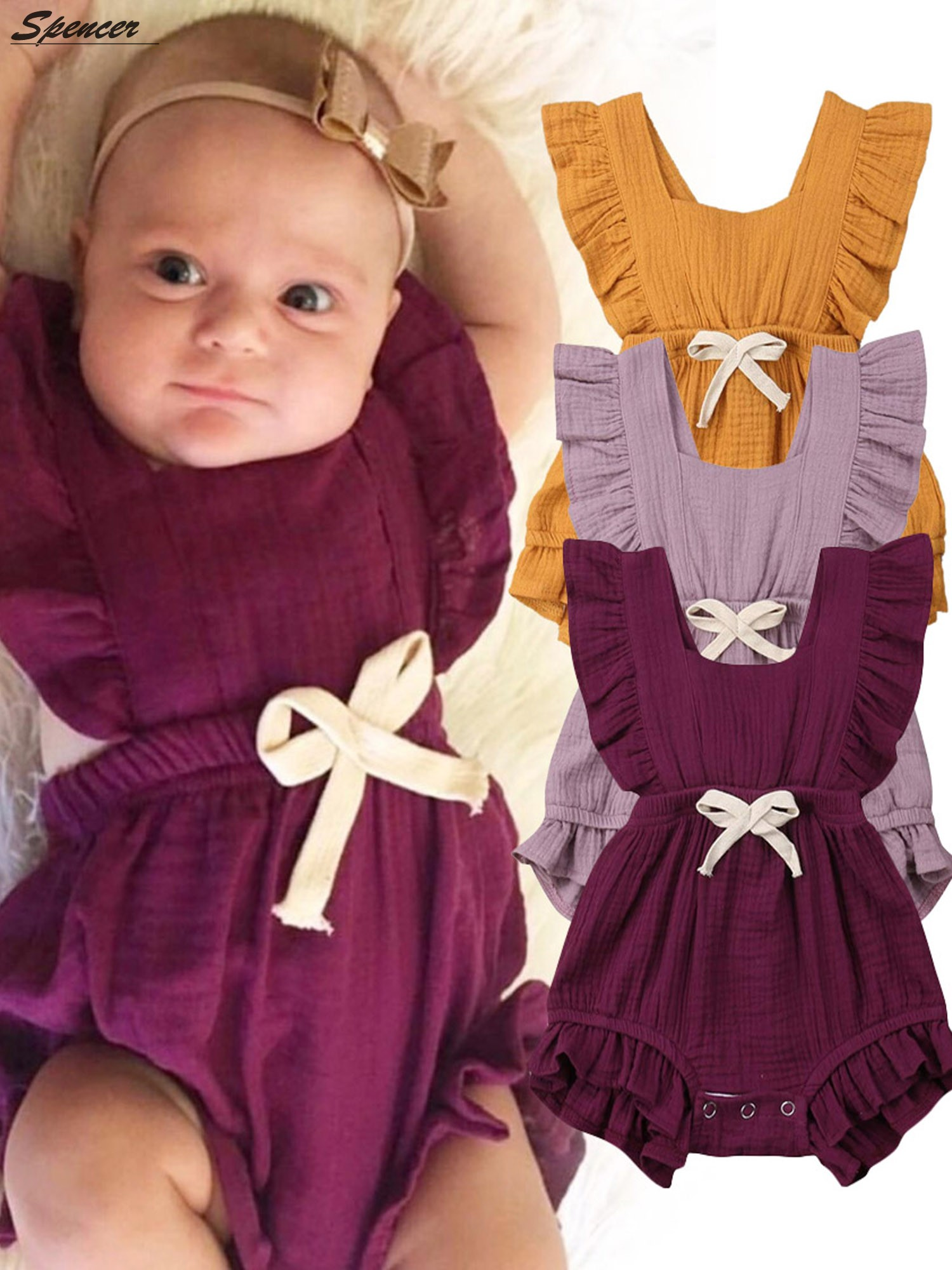 Handmade organic baby romper with 34 sleeve and ruffles 0-24 months girl clothing