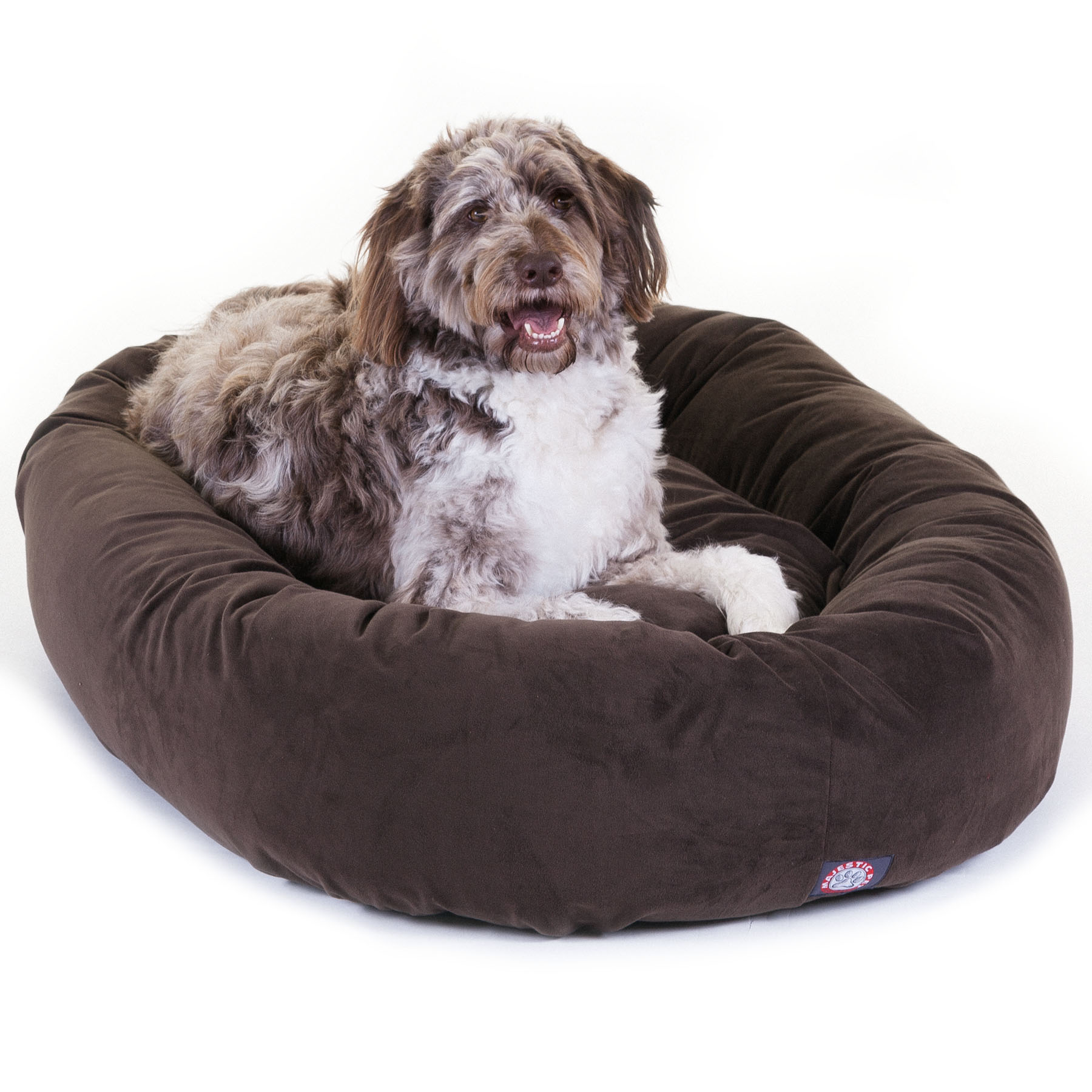 Majestic Pet Suede Bagel Dog Bed Spine Support Bolster Machine Washable