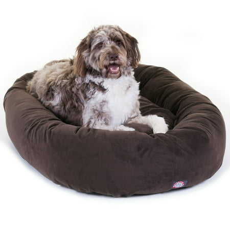 Majestic Pet Suede Bagel Dog Bed Spine Support Bolster Machine Washable