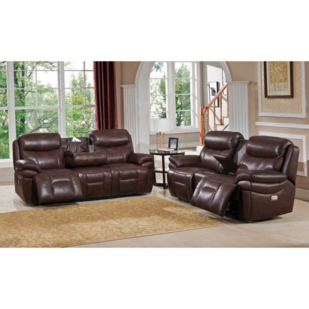 Amax Leather Summerlands II Top Grain Leather Power Reclining Sofa ...