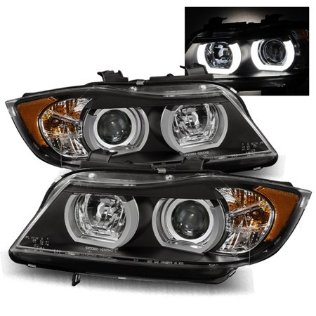 For 06-08 BMW E90 Sedan (Stock HID AFS) Halo Projector Headlights Lamps  Black