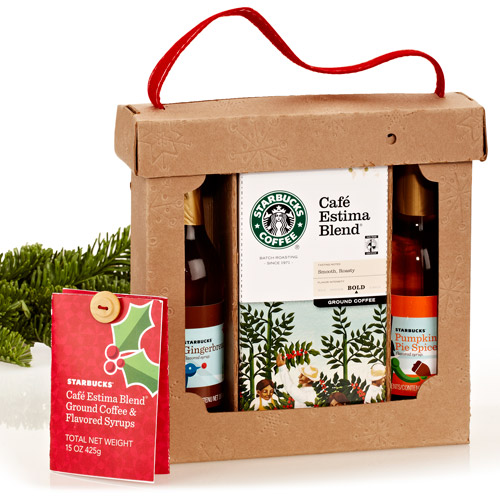 Starbucks Pumpkin Pie Spice and Gingerbread Flavored Syrups & Ground Coffee Gift Set