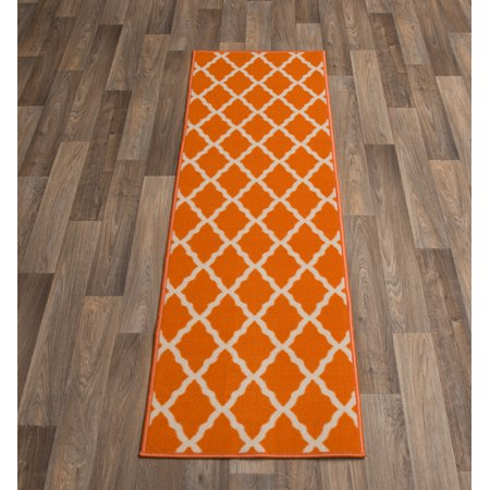 - Ottomanson Glamour Collection Moroccan Geometric Trellis Non Slip Rubber Backing Area or Runner Rug