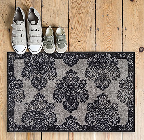 """Non-Skid   Slip Rubber Back Antibacterial 18"""" x 31"""" Doormat Rug Athena Damask... by"""