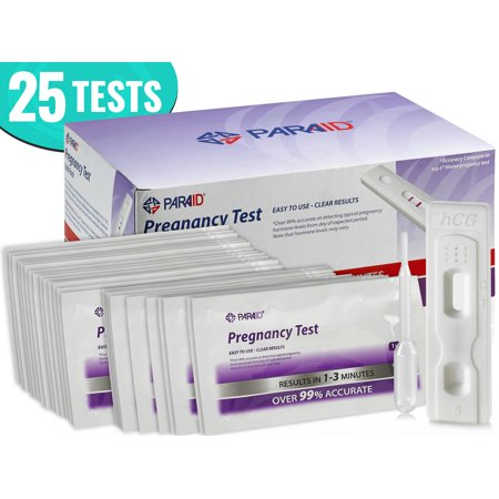 Early Detection Urine Test Kit (HCG) - Pregnancy Test Strips in Bulk [25 Tests] by MEDca, Early Result Pregnancy Test, Clear and Over 99% Accurate Results, Pregnancy Test (Home Pregnancy Test One Line Dark Other Light)