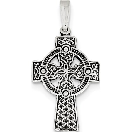Leslies Fine Jewelry Designer 925 Sterling Silver Antiqued Celtic Cross (19x36mm) Pendant Gift