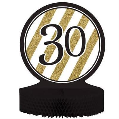 Black and Gold 30th Birthday Honeycomb Centerpiece, 2PK