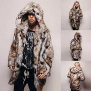 Gobestart Fashion Mens Warm Leopard Thick Hooded Coat Jacket Faux Fur Outwear Overcoat
