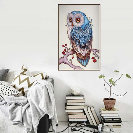 Colored Owl Blue Branches Crystal Diamond Painting Animals Embroidery Cross Stitch Rhinestone Mosaic Picture Decoration Gift
