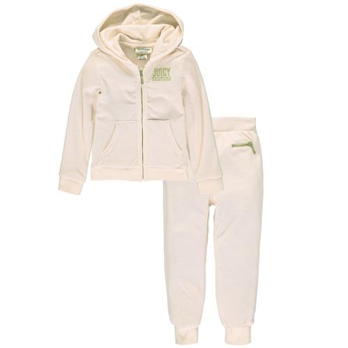 Juicy Couture Girls 4-6X Terry Jog Sets (Ivory 6)