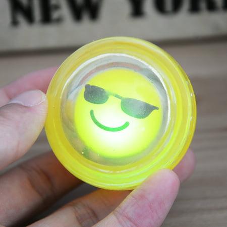 Flashing Emoji Bouncing Ball Light Up Toys Party Favors, 50MM, 12 Pieces (Ball Emoji)