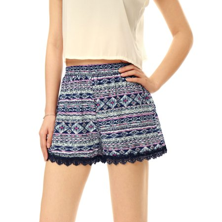 Women's Elastic Waist Paisleys Cashew Flower Prints Casual Shorts Blue-Geometric Prints XL (US 18)