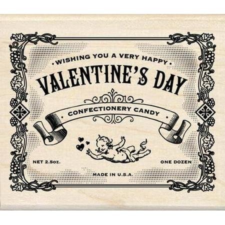 Wood Mounted Rubber Stamp: Valentines Day Label By Inkadinkado - Inkadinkado Halloween Stamps